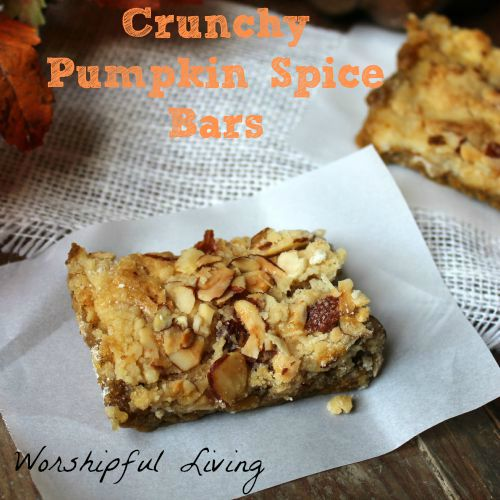 These Crunchy Pumpkin Spice Bars are a great pumpkin treat for fall!