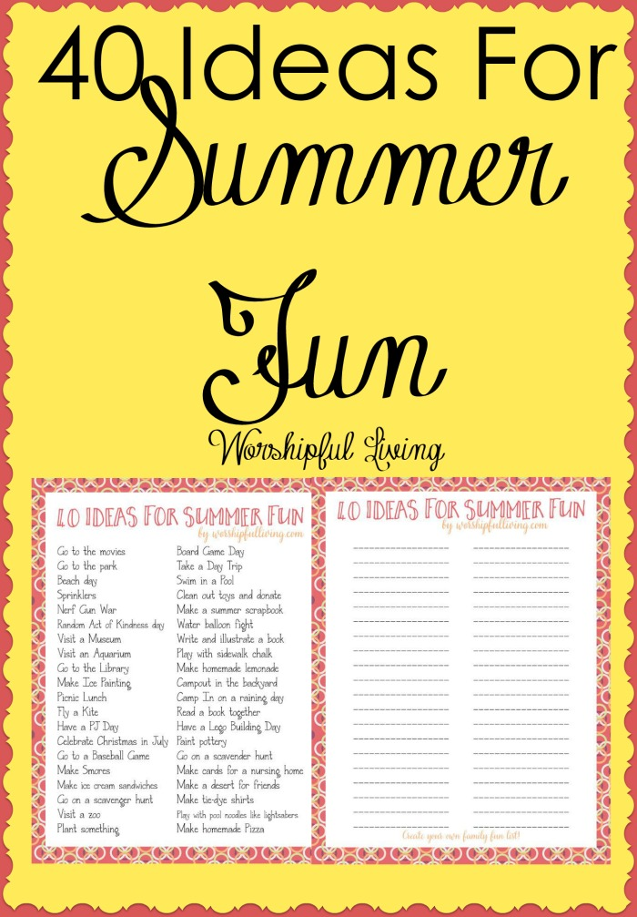 Summer is just about here and we all need some ideas for some summer fun! These ideas are sure to keep the whole family having a great time this summer!