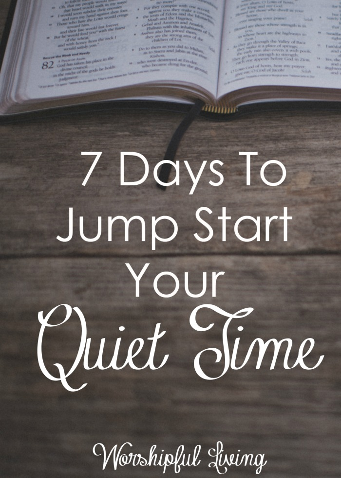 Does your quiet time need a jump start? Has it ever been in forward motion at all? You are not alone. Come give your quiet time a boost- or start it for the very first time!