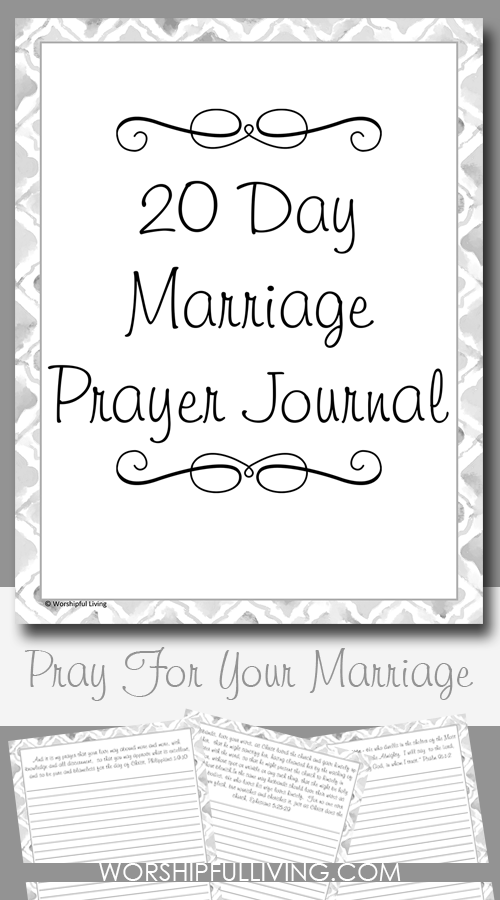 Are you looking to be more intentional about praying for your marriage? This free 20 day prayer journal will guide you through some verses to help pray for your marriage in a powerful way!